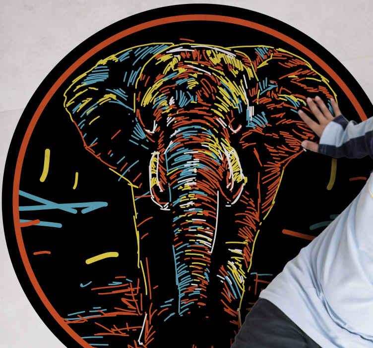 TenVinilo. Alfombra vinilo animales elefante multicolor. Alfombra vinílica redonda de animales con dibujo de elefante colorido sobre un fondo negro. Alta calidad ¡Descuentos disponibles!