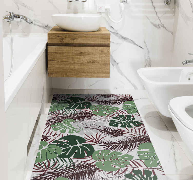 TenStickers. Maroon and Green Monstera Leaves nature carpet. Nature vinyl rug which features a pattern of Swiss Cheese Plant leaves in various colours overlapping. High quality materials.