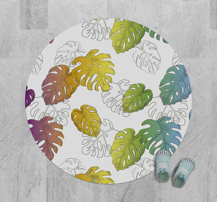 TenStickers. Tappeto natura in vinile Vaso monstera multicolore. Tappeto in vinile multicolore monstera nature. Questo tappeto è adatto a qualsiasi spazio e sarebbe un'ottima idea per gli amanti delle piante.