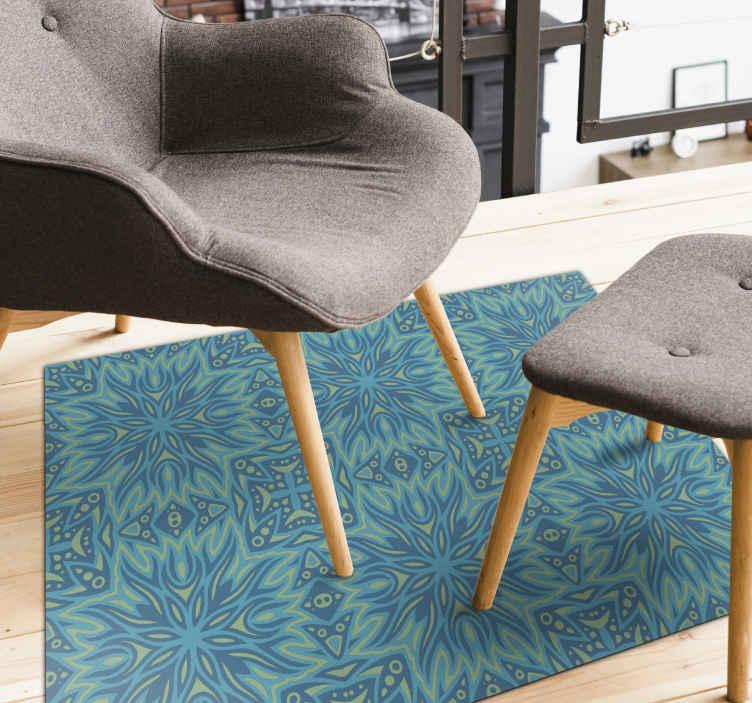 TENSTICKERS. エスニック柄風ビニール絨毯. 適切な入り口のビニールカーペット。また、自分に最適だと感じる他のスペースに配置することもできます。最高の品質で、メンテナンスが簡単です。