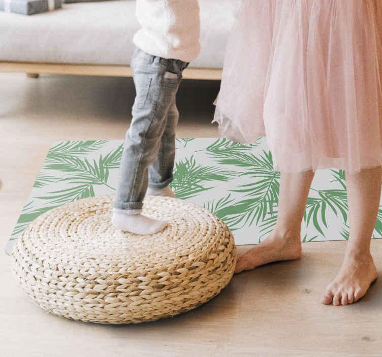 TenStickers. Tappeto in pvc con fiori e piante Foglie di palma menta. Bellissimo tappeto in vinile con foglie di palma di colore verde che si adatterebbe bene a qualsiasi spazio della casa.. è originale, resistente e di facile manutenzione.