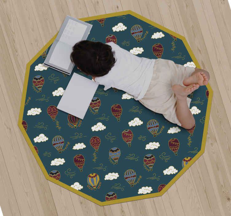 TenStickers. children air balloons kids vinyl carpet. A decagon geometry shape vinyl carpet for living room and kid's bedroom. The carpet contains designs of pretty air balloons and cloud illustrations.