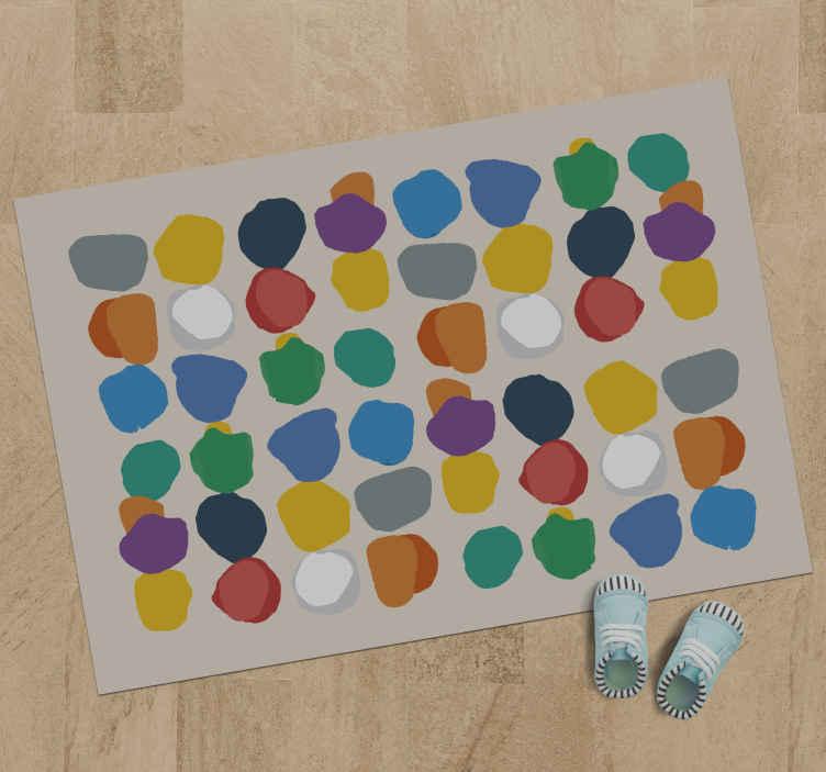 TenStickers. Vopseaua obișnuită stropeste covorul minimalist. Covor de vinil simplu, dar interesant, potrivit pentru dormitorul copiilor. Un covor de vinil de formă pătrată cu textură de vopsea de culoare diferită.