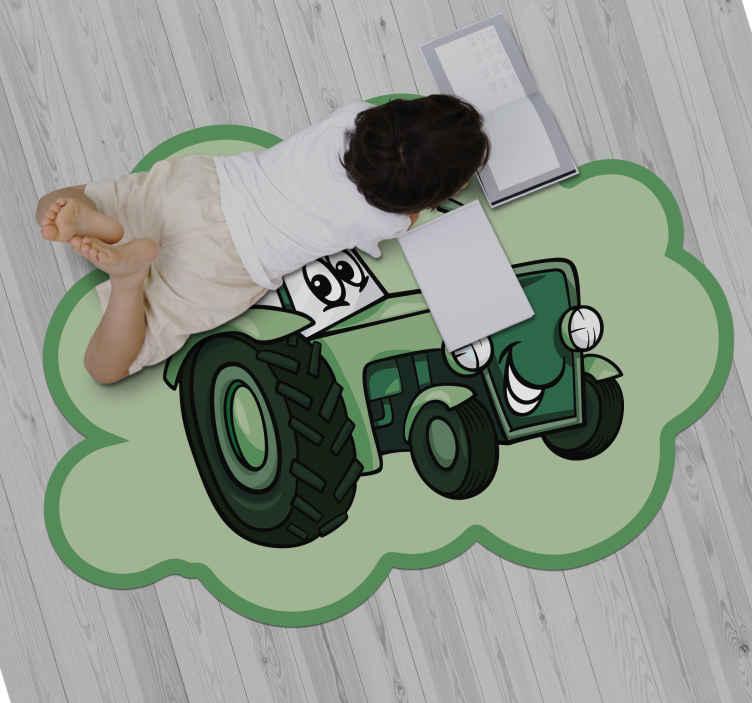 TenStickers. Covor verde din vinil pentru copii tractor. Covor de vinil de calitate cu design jucăuș de jucărie pentru tractor. Un covor de vinil potrivit pentru dormitorul copiilor, unde se pot așeza și juca pe el, bucurându-se de design.