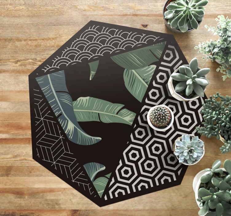 TenStickers. Folhas verdes e tapetes geométricos de padrão geométrico. Decore todos os espaços da sua casa com as extravagantes folhas verdes de vinil e o desenho de padrões geométricos. Este tapete de vinil é perfeito para você.