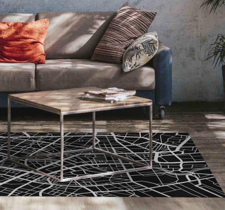 TenStickers. Dywan winylowy Szlak ulic na mapie. Czarny dywan winylowy z ulicami. Ta oszałamiająca funkcja dywanu winylowego jest idealna. Ten elegancki design naprawdę ucieszy każdego, kto przyjdzie do Twojego domu!