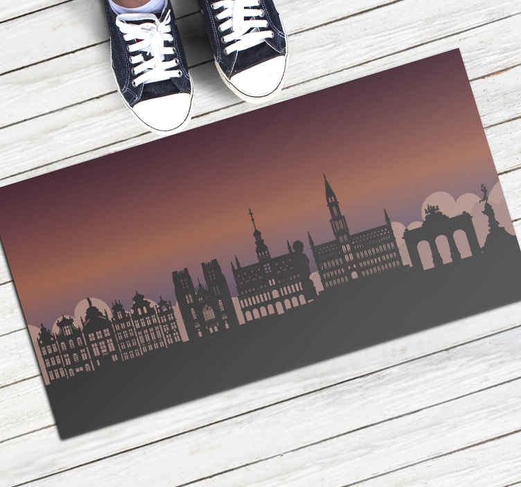 TenStickers. Brussels illustration contemporary rugs. Amazing door mat with brussels illustration.This stunning door mat features is perfect.  This design will really please everyone who comes to you.