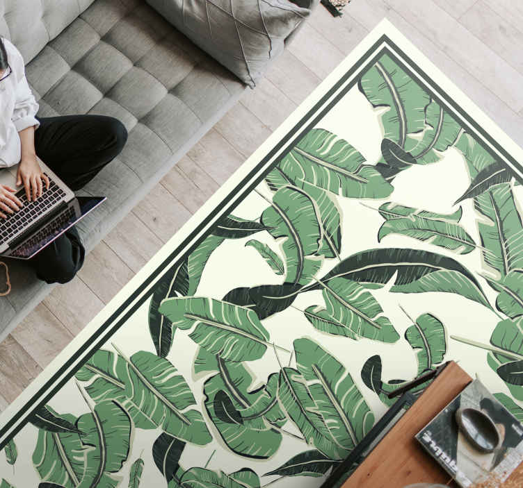 TenStickers. giant palm leaves flower rug. Vinyl rug with palm leaves. Beautiful decoration for your bedroom. It is resistant to external factors and made of high quality vinyl.