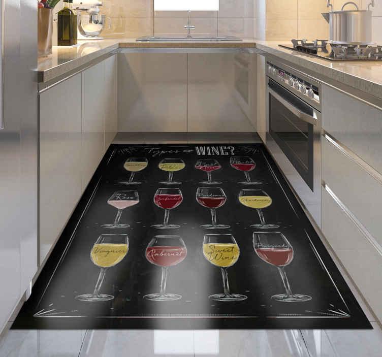 TenStickers. Soort wijnen zwarte op maat gemaakte tapijten. Vinyl vloerkleed met wijnbekers, perfect voor het decoreren van keuken of eetkamer. Het is gemaakt van hoogwaardig vinyl, duurzaam en resistent.