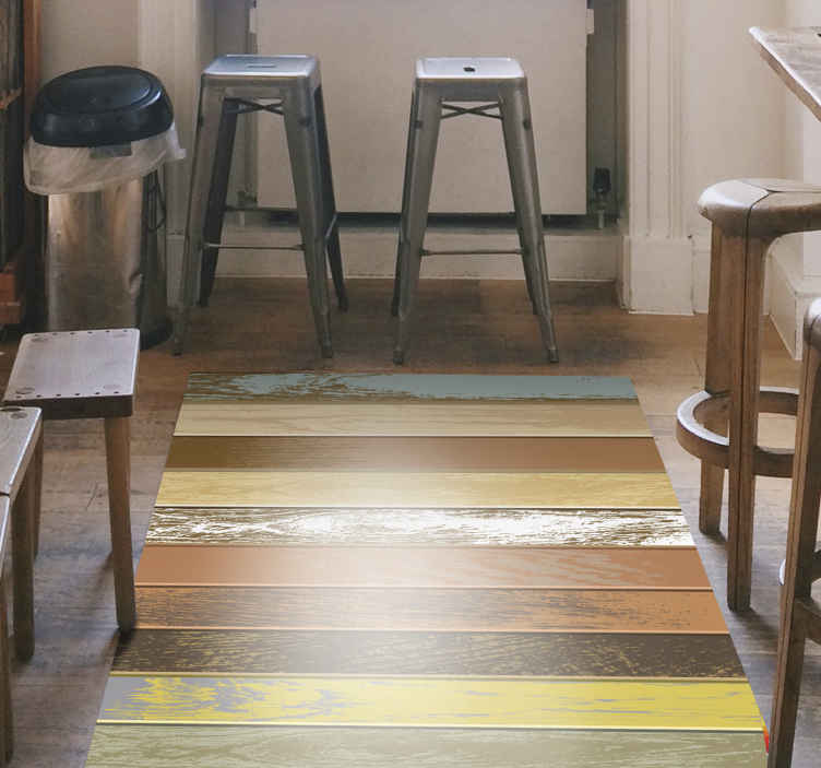 TenStickers. colourful wooden slabs wood effect vinyl flooring. Colorful wood vinyl rug, perfect for decorating the entrance of your home. Easy to clean with a wet cloth. Durable and resistant.