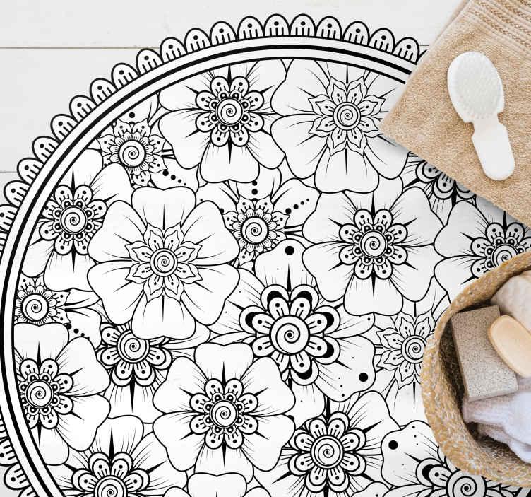 TenStickers. Tappeti in vinile Mandala Cerchio nero mandala. Tappeto in vinile mandala bianco e nero. Decorazione perfetta per la tua camera da letto. Facile da riporre, pulire e trasportare. Fatto di materiale di alta qualità.
