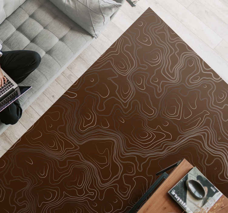 TenStickers. rectangular brown depth tile mat. Brown abstract vinyl rug, perfect for decorating your salon. Made of high quality vinyl. Easy to clean and store. Check it out.