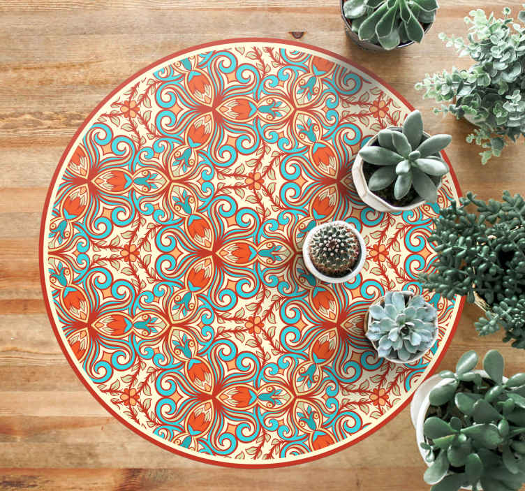 TenStickers. blue and orange ornaments tile mat. Fantastic vinyl tile kitchen mat with various blue and orange ornaments to decorate your kitchen. Is is anti-slip and easy to clean.