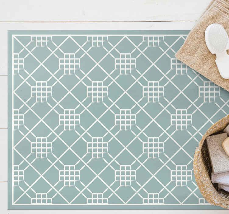 TenStickers. Düzensiz geometri karo paspası. Mutfağınızın zeminini dekore etmek ve ona özel ama orijinal bir stil vermek için vinil karo mutfak paspası. Kaymaz ve dayanıklıdır.