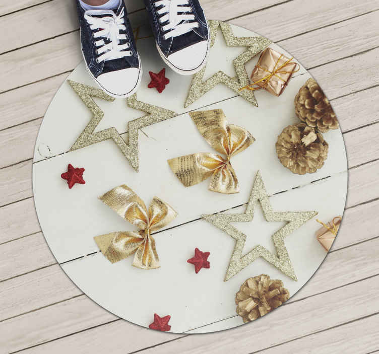 TenStickers. Stars and Bows Christmas rug. Christmas vinyl rug which features various realistic stars, bows and presents laid out across a wooden floor. High quality.