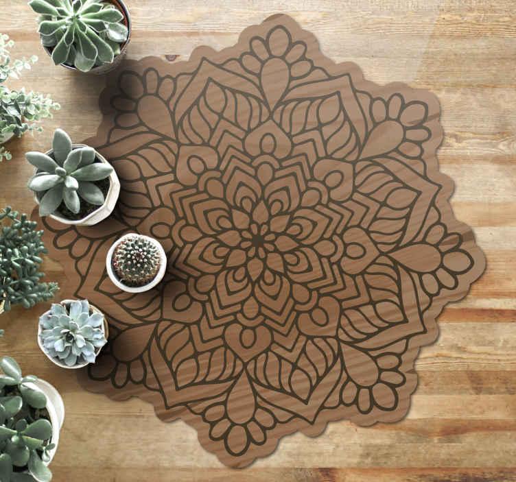 TenStickers. Piso de vinil com efeito de madeira com efeito mandala. Tenha este incrível tapete de vinil de madeira personalizado que você vai adorar por sua simplicidade e bom design. Material extremamente duradouro.