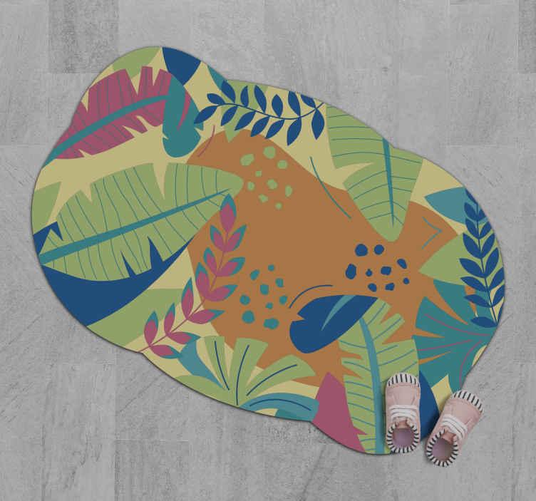 """TenStickers. 热带树叶花地毯. 令人惊奇的自然乙烯基转轮地毯""""热带树叶""""。在家中到处装饰的完美选择!现在就让您在线!容易申请!送货上门!"""
