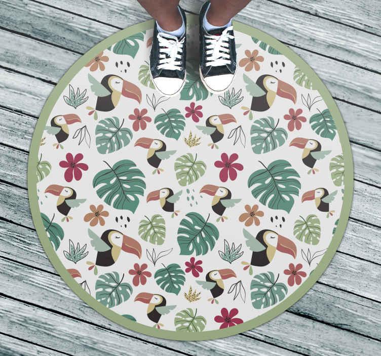 TenStickers. Vinyl vloerbedekking dieren Tropische bladeren en vogels. Dit vinyl vloerkleed bevat veel verschillende jungle objecten, waaronder papegaaien, bloemen en bladeren. Verkrijgbaar in verschillende maten om aan uw behoeften te voldoen.
