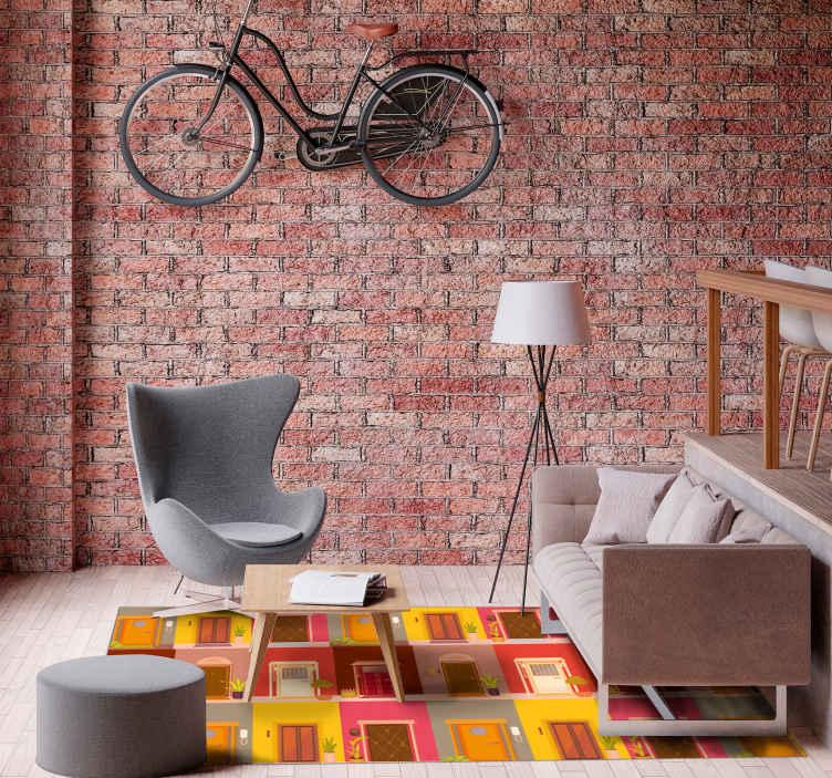 TenStickers. Moderne vinyl tapijt Deuren op het vloerkleed. Kleurrijke deuren vinyl vloerkleed, geweldig als u wat kleur aan u interieur wilt toevoegen. Hoogwaardig, duurzaam product. Levering tot aan uw deur.