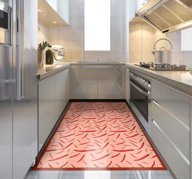 TenStickers. chili couple of peppers wood effect vinyl flooring. this spectacular vinyl covered kitchen mat is featured with a chili peppers pattern. It is easy to clean, anti-slip and very long-lasting.