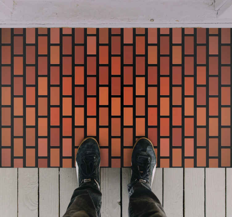 TenStickers. Brick wall texture rug. original entrance hall flooring with modern design with which you will decorate your house. First quality product, non-slip.