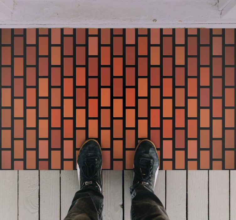 TenStickers. Tuğla duvar dokusu kilim. Evinizi dekore edeceğiniz modern tasarımlı özgün giriş holü döşemesi. Birinci kalite ürün, kaymaz.