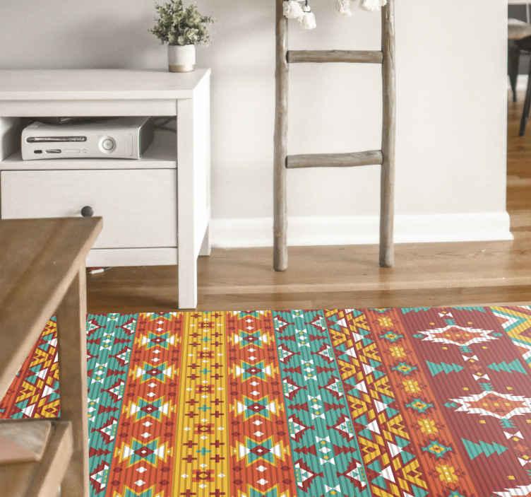 TenStickers. tapis vinyle motif ethnique sticker ethnique. Tapis en sticker à sticker ethnique coloré, parfait comme décoration pour votre chambre. Ajoutez la bonne taille et faites-le livrer à votre porte. Vérifiez-le!