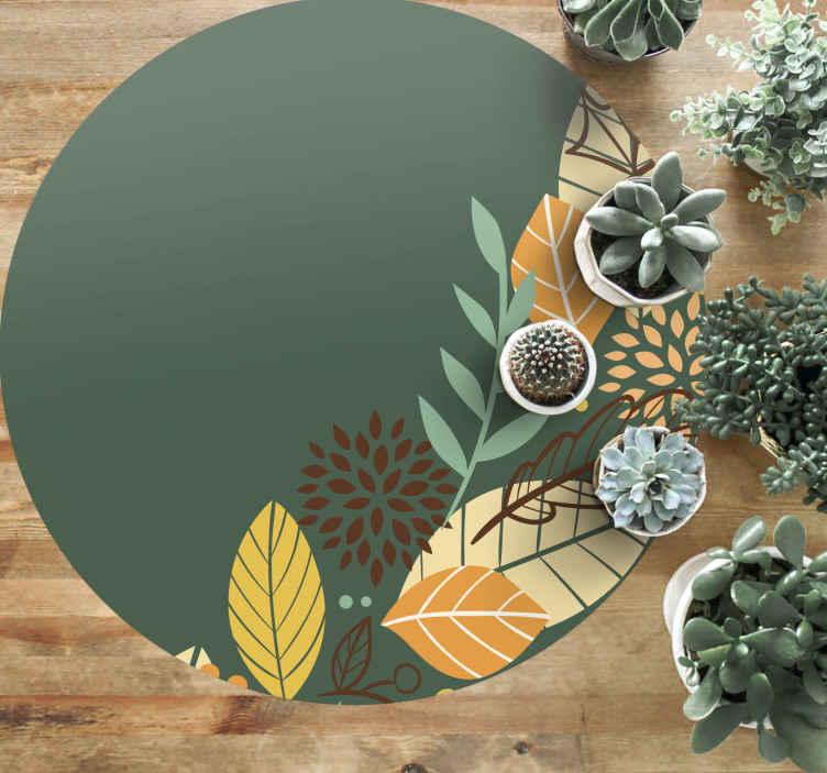 TenStickers. Vinyl vloerbedekking Bloemen en planten Herfstbladeren. Een prachtig rond vinyl tapijt met herfstbladeren is een geweldig ontwerp om u woonkamer of elke ruimte in huis te decoreren met een hoogwaardig product.