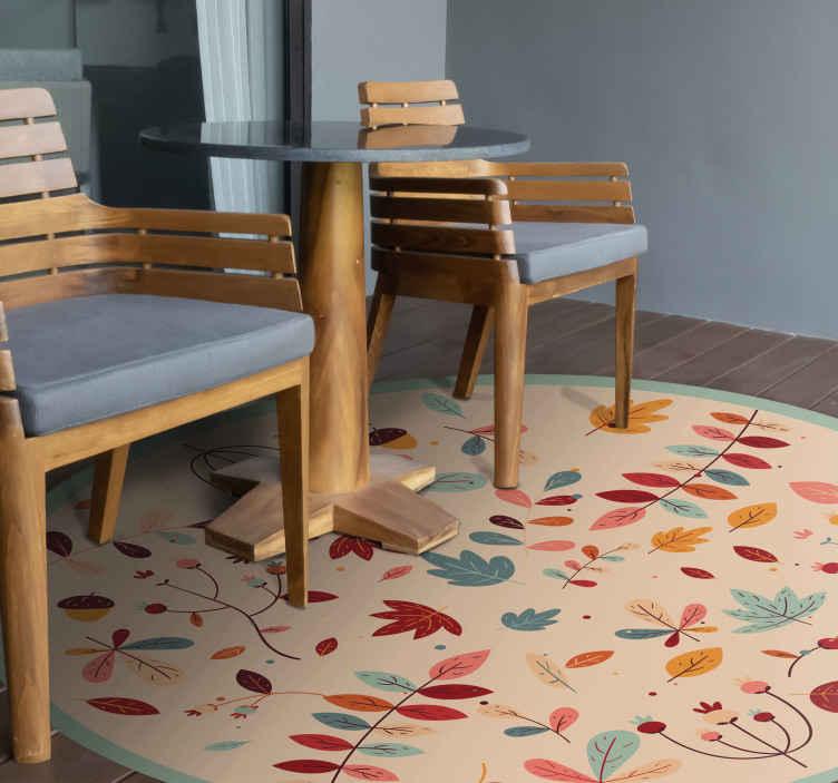 TenVinilo. Alfombra vinílica redonda hojas de otoño. Esta alfombra vinílica redonda tiene muchas plantas y hojas decoradas en varios colores. Fabricado de alta calidad ¡Compra online!