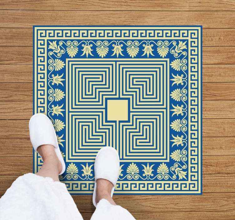 TENSTICKERS. ギリシャの青いタイルのレトロなビニールの敷物. さまざまな形や花を取り入れた見事なギリシャのタイルデザインが特徴のギリシャのビニールラグ。オーダーメイド。