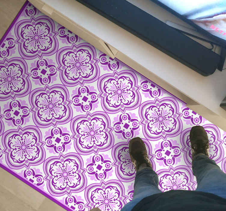 TenStickers. Floral tile tile mat. Pink and violet vinyl rug, perfect for your living room and a great match for your house. easy to clean, washable, resistant.