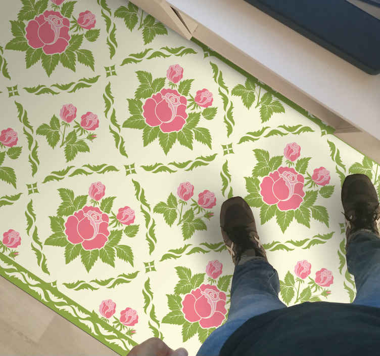 TenStickers. Blossom tile flower rug. this spectacular rectangle vinyl carpet filled with blossom tiles which will look great in your living room. It is non-slip and very long-lasting.