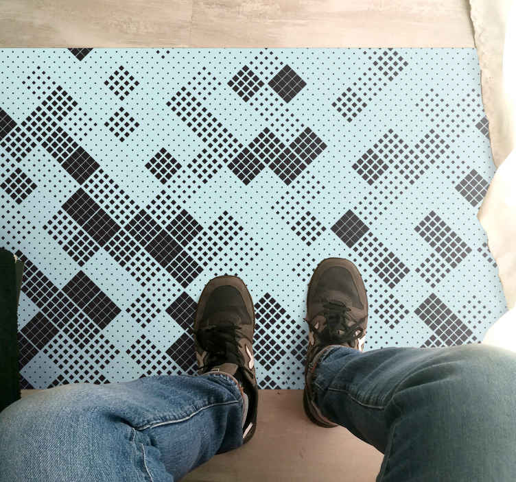 TenStickers. Chaotic black squares tile geometric carpets. this fantastic rectangle vinyl carpet is featured with different chaotic black squares tiles. It is anti-slip and very long-lasting.