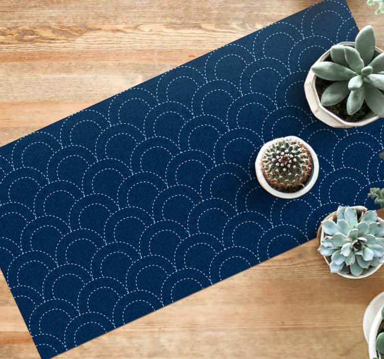 TenStickers. Denim style blue arches texture vinyl rug. The vinyl rug design features a pattern of white dotted arches on a denim blue background. High quality materials used now.
