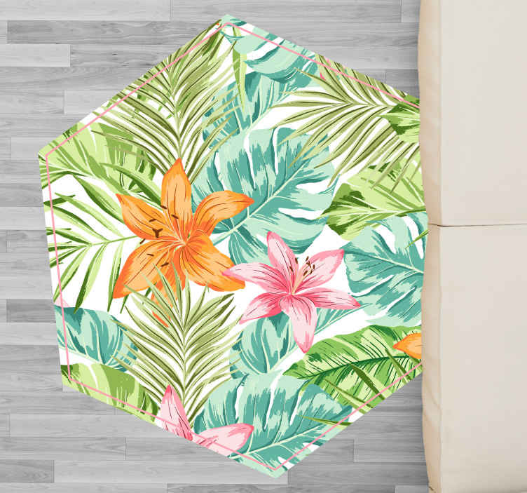 TenStickers. Tropical fines leafes flower rug. Fantastictropical fines laefes pattern vinyl rug. Buy it online in our store and we will send it to you wherever you want. What are you waiting for?