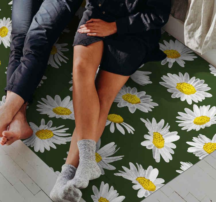 TenStickers. tapis cuisine Champ de marguerites. sticker de fleurs fantastique vert et blanc et jaune. Avec ce design, vous avez une décoration qui s'intègre parfaitement dans votre maison.