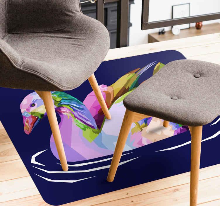 TenStickers. Vinyl vloerbedekking dieren Popart vogel. Een origineel en uniek kleurrijk vinyl vloerkleed van vogels om uw woonkamer of elke andere ruimte in uw huis te decoreren. Zeer resistent product.