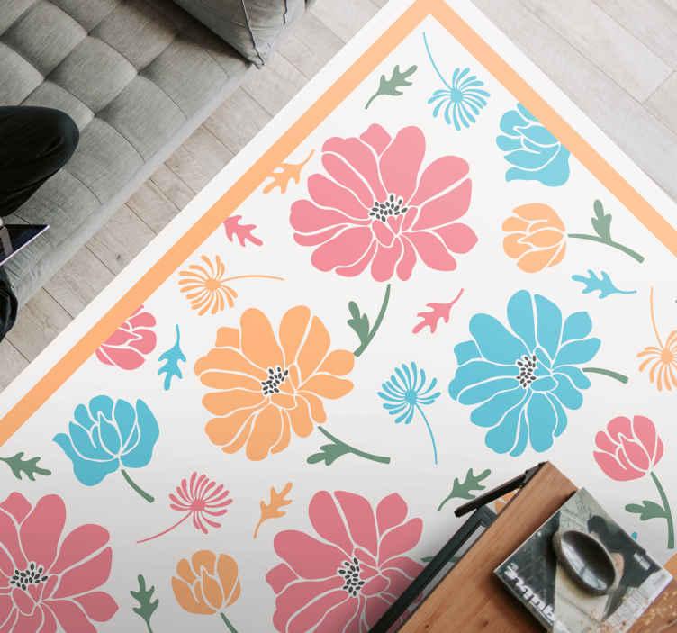 TenVinilo. Alfombra vinilo vintage de flores coloridas. Esta alfombra vinílica retro presenta flores de varios colores en diferentes tamaños sobre un fondo blanco. Elige medidas ¡Compra online!