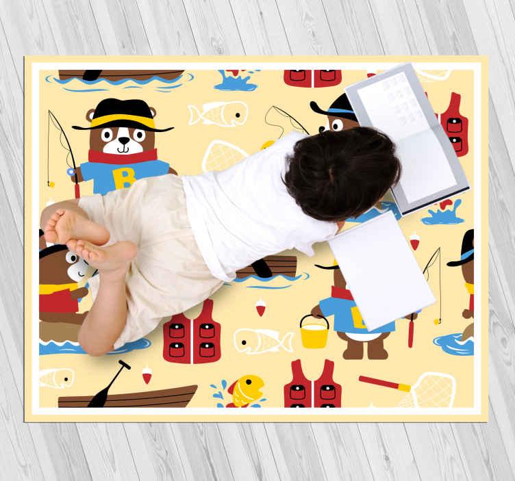 TenStickers. 熊卡通少女地毯与卧室模式. 乙烯基地毯与卡通熊,完美的装饰,为孩子们的房间。易于清洁和储存。高品质的乙烯基。自己检查一下!