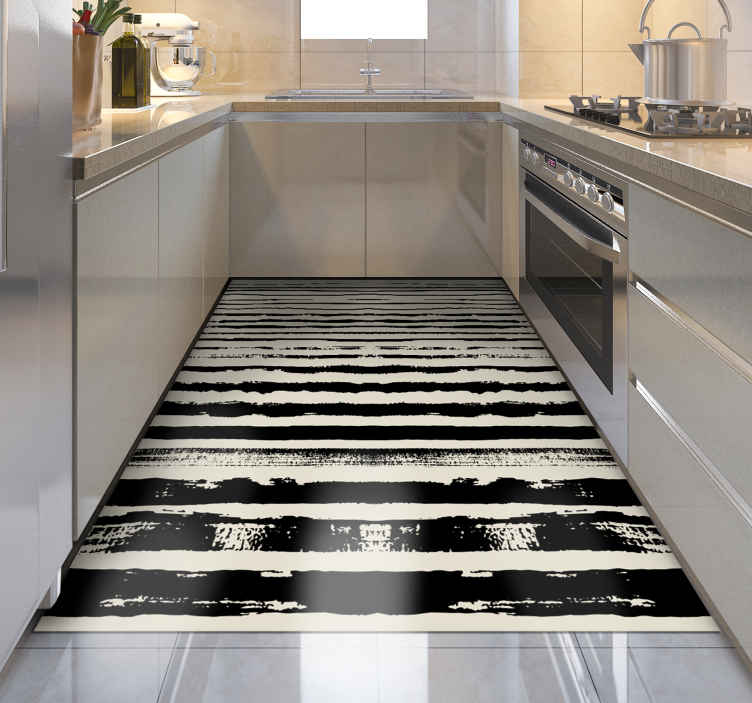 TenStickers. Crazy Stripes stripes rug. Vinyl rug with black stripes. It will be a greta decoration for your kitchen. You can as well place it in hall. Easy to clean and store.