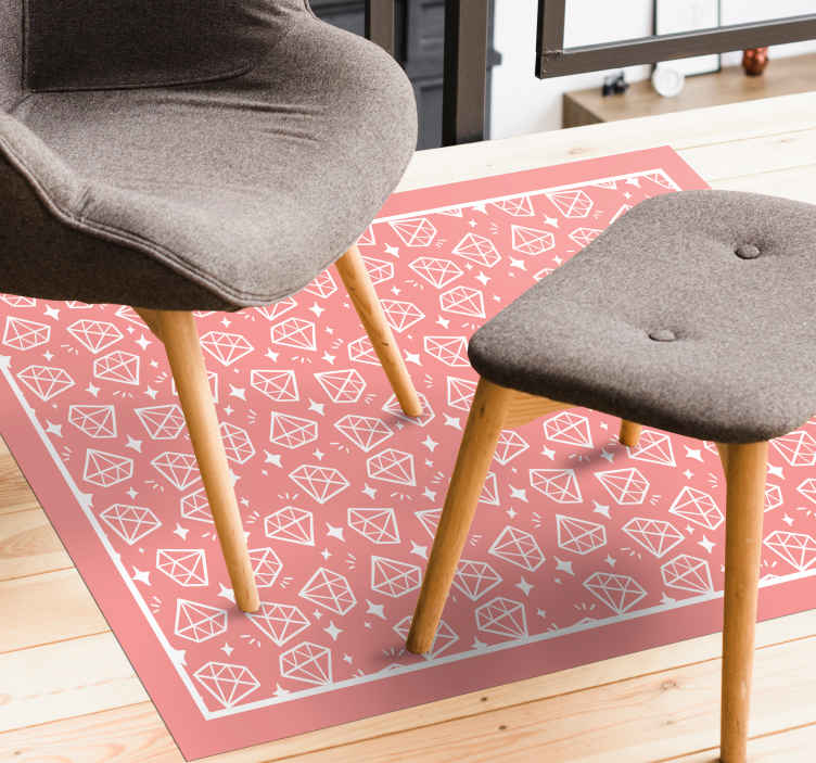 TenStickers. Geometric Diamonds Pink Hues geometric carpets. Pink vinyl rug with diamonds. Perfect decoration for your bedroom and salon. Made of high quality materials, easy to store and clean.