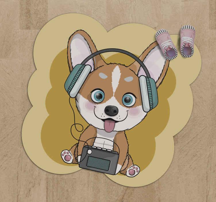 TenStickers. Covor de vinil caine ascultand muzica animal mat. Un covor drăguț de vinil cu temă de muzică și câine pentru a decora camera copilului tău. Este foarte rezistent și fabricat din vinil de înaltă calitate.