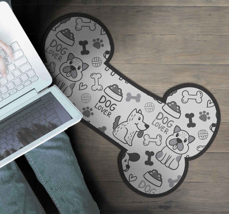 TenStickers. виниловый коврик рисунки собак и циновка для пищевых животных. виниловый коврик с собачками, идеальный вариант, если вы хотите украсить постель. легко чистить и хранить. изготовлен из качественного винила.