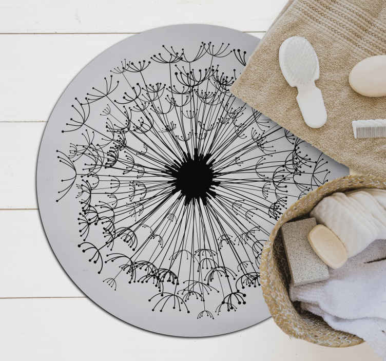 TenStickers. круглый виниловый коврик с листьями и цветами. удивительный круглый виниловый коврик с листьями на сером фоне для вашего дома. он изготовлен из высококачественного материала с прочной способностью.