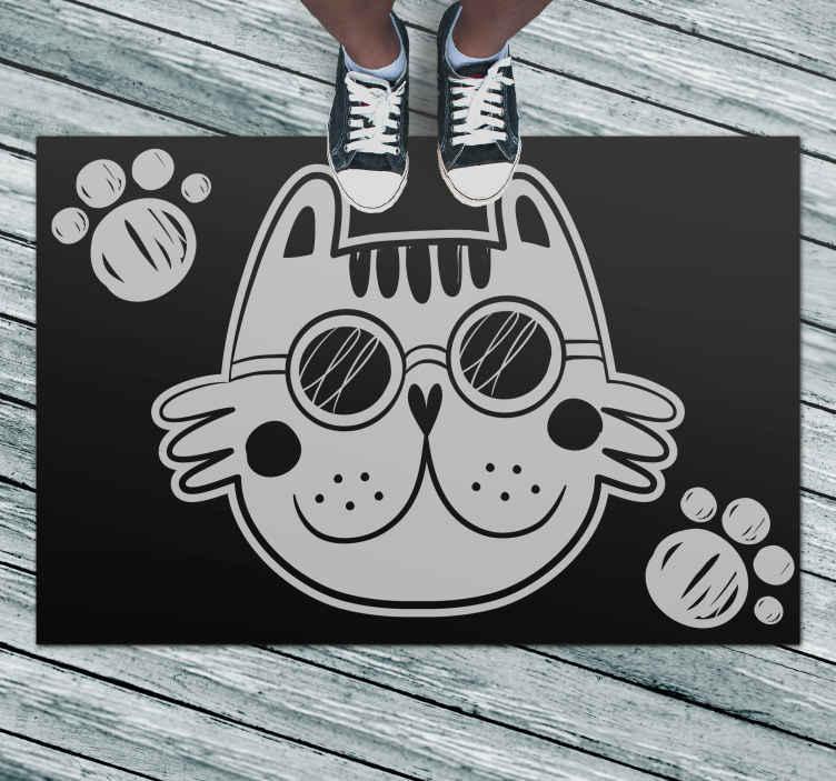 TenStickers. Covor de vinil alb pisică față de animal mat. Covor de vinil cu față de pisică pe fond negru. Este fabricat din vinil de înaltă calitate, așa că va mulțumi ochilor pentru o lungă perioadă de timp.