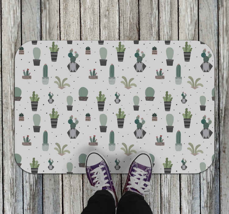 TenStickers. Vinyl carpet cactus salon in containers flower rug. A cute way to decorate your house with these different cactuses and plants vinyl rug with a light background. Many sizes to choose from.