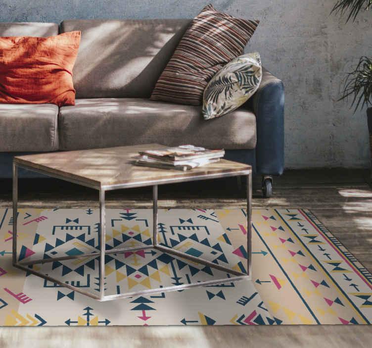 TenVinilo. Alfombra vinílica étnica tonos beige pastel. Decora tu casa de una forma única con esta alfombra vinílica étnica de diferentes colores que combinará con cualquier color ¡Decora tu casa ahora!