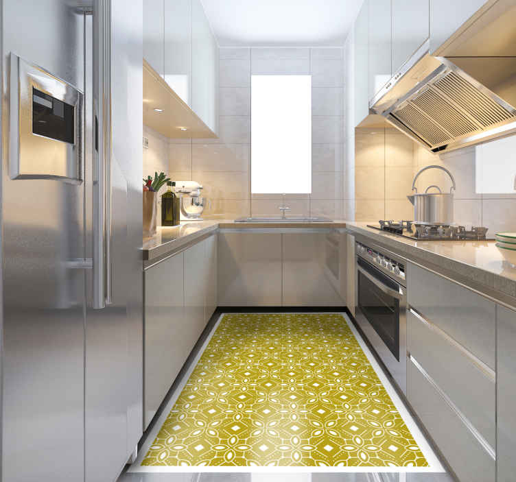 TenStickers. kitchen vinyl rug yellow squares tile mat. Beautiful kitchen  vinyl rug yellow squares with pattern carpet is a perfect solution for the kitchen or living room because it is so practical.