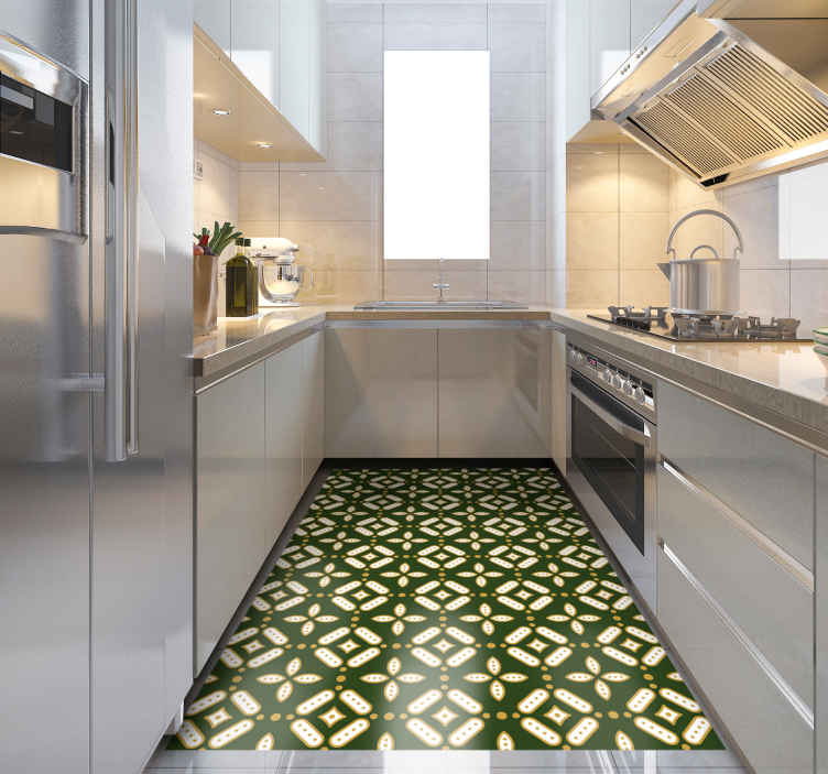 TenStickers. kitchen vinyl rug green squares tile mat. Beautifulkitchen  vinyl rug green squares with pattern carpet is a perfect solution for the kitchen or living room because it is so practical.