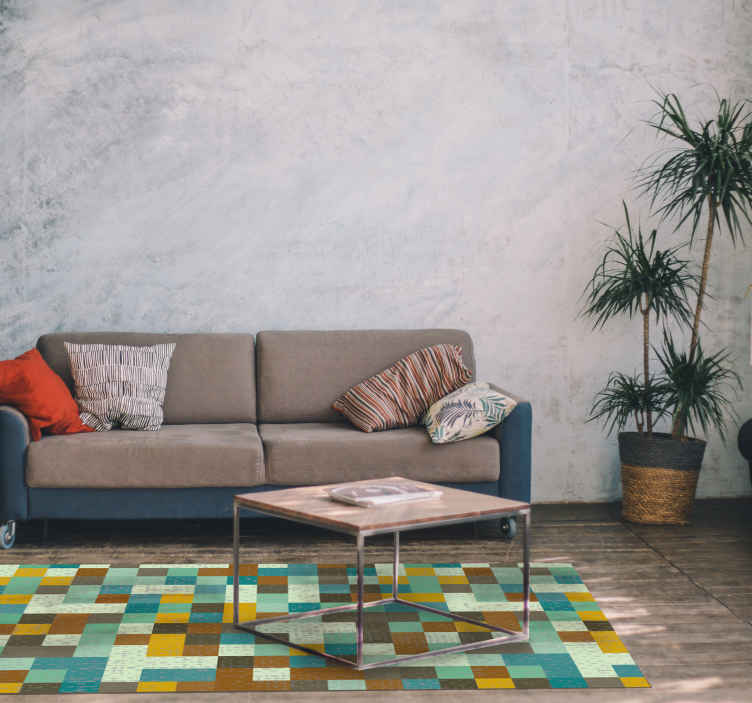 TenStickers. living room vinyl rug regular squares contemporary rugs. Beautiful living room vinyl rug regular squares with pattern carpet is a perfect solution for the kitchen or living room because it is so practical.